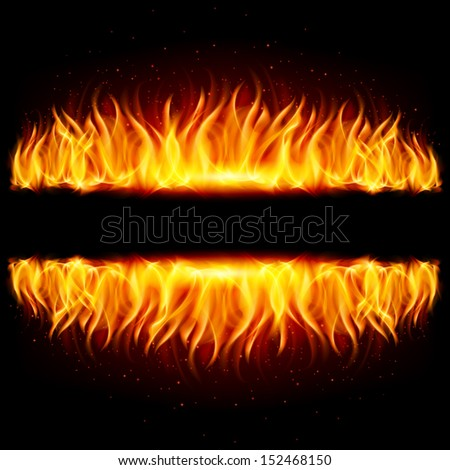 Raster version. Walls of fire in mirror reflection with blank space between them. Illustration on black background.
