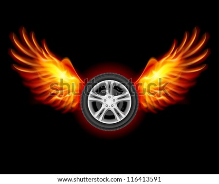 Raster version. Wheel with fire wings. Illustration on black