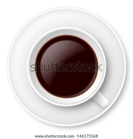 Raster version. White mug of coffee and saucer. Illustration on white