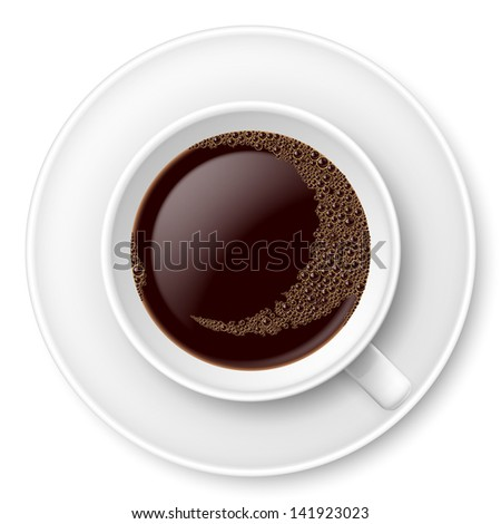 Raster version. White mug of coffee with foam and saucer. Illustration on white