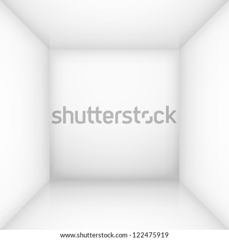 Raster version. White simple empty room interior, box. Illustration for design