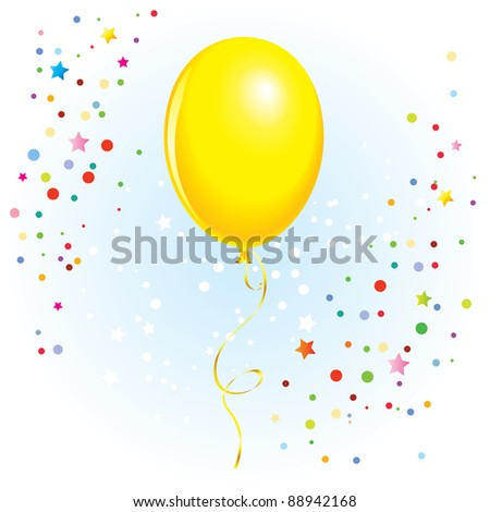 Raster version. Yellow balloon with dangling curly ribbon in  format - stock photo