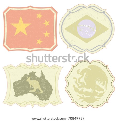 Raster vintage labels of China, Brazil, Australia and Mexico. (vector available in portfolio)