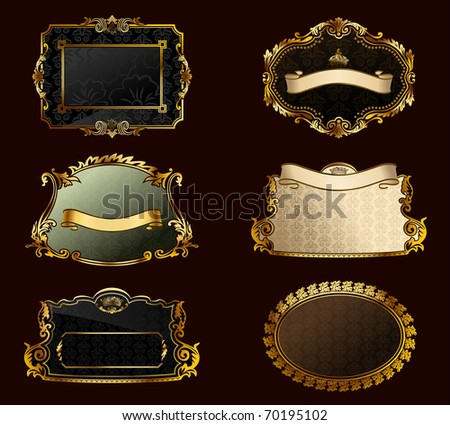 Raster vintage set. Gold frames decorative labels. Vector copy search in my portfolio - stock photo