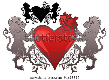 raster - vintage style lions holding a heart with a rose bud (vector version is available in my portfolio)