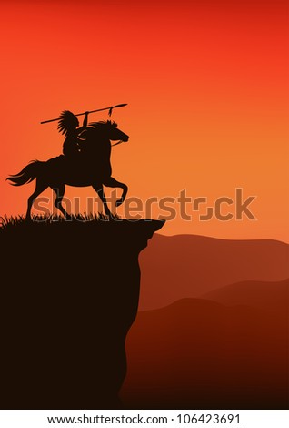 raster - wild west background - native american chief riding a horse - silhouette on top of a cliff against sunset sky (vector version is available in my portfolio)