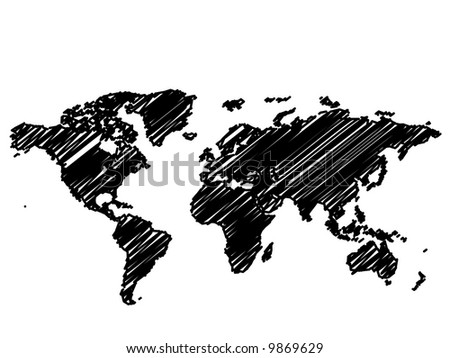 Raster - World / Global map sketch in black and white