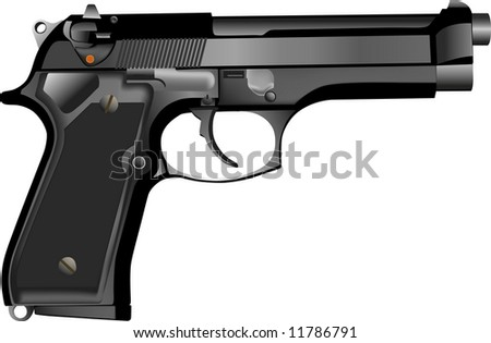 Rasterized of 3D realistic 9mm hand gun