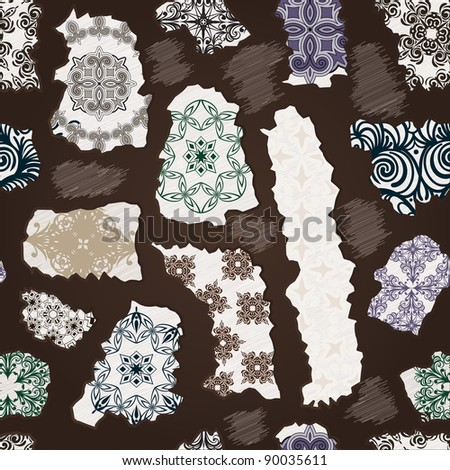 rasterized  seamless vintage pattern  with torn floral patterns - stock photo
