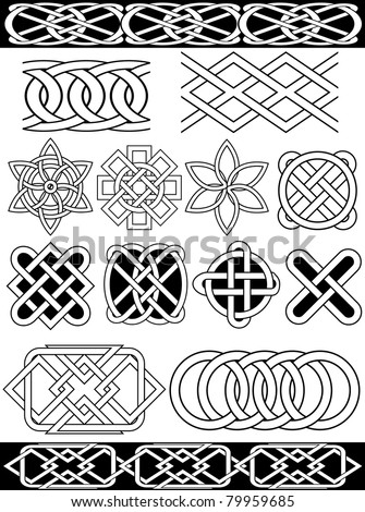 Rasterized version of vector celtic knots. Isolated over white