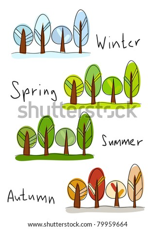 Rasterized version of vector illustration. Four seasons - winter, spring, summer and autumn