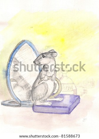 rat and a mirror. watercolor