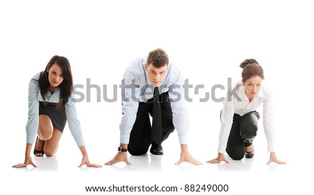 Rat race concept. Three businesspeople ready to start race - stock photo