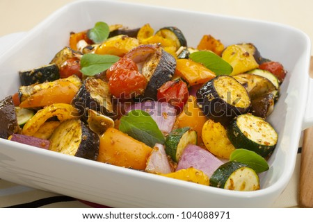 Ratatouille baked in the oven.