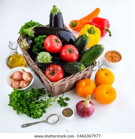 Ratatouille from fresh vegetables and eggplant #1466367977