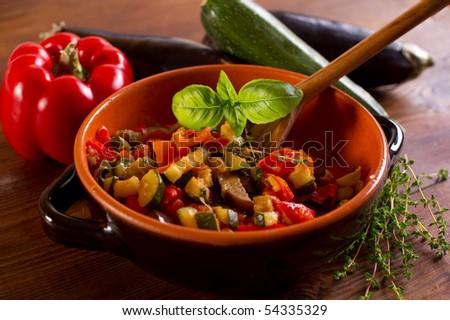 ratatouille over spoon on bowl