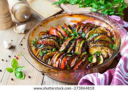 Ratatouille traditional French Provencal vegetable dish cooked in oven