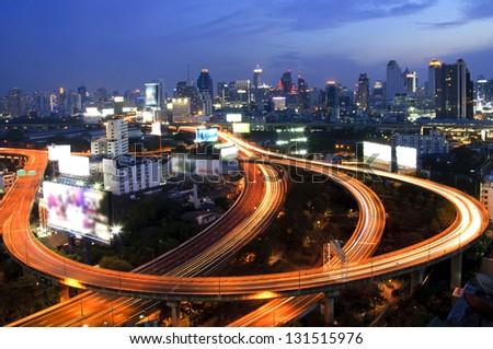 Ratchaprarop area of Bangkok city night view with express way.