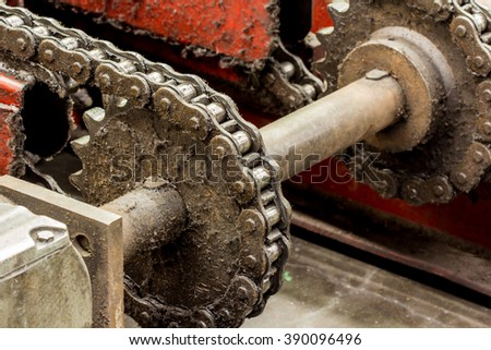 Ratchet gear with chain drive.