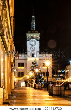 Rathaus and Christmas tree, Big square in Kromeriz, Czech republic. Silvester night photo. Travel destination. #1274412730