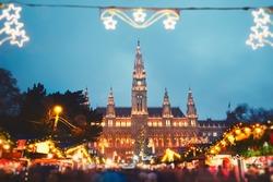 Rathaus (city hall) and christmas market in Vienna, Austria - tilt shift
