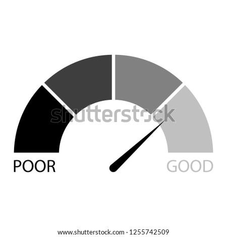 Rating credit indicator black white. financial level, measurement rate finance illustration