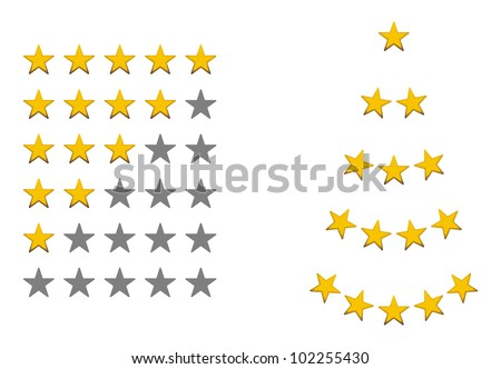 Rating signs, yellow, gold stars