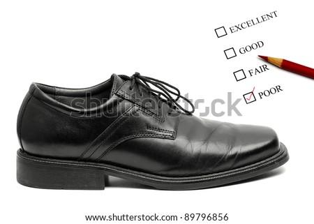 Rating system of Men's black dress shoe isolated on white background - stock photo