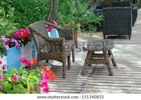 Rattan chair and table  in empty cafe