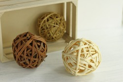 Rattan dry decorative balls, natura decoration for home, wooden craft sphere for house decor.