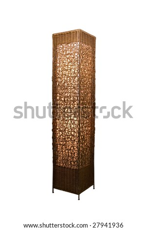 Rattan stand lamp isolate on white