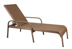 Rattan sun lounger. Wicker garden furniture isolated on white