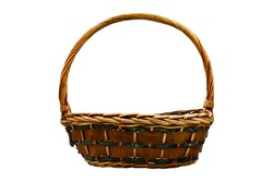 Rattan wicker brown basket with handmade traditional and dry branches, natural pattern woven wicker basket, isolated on white background