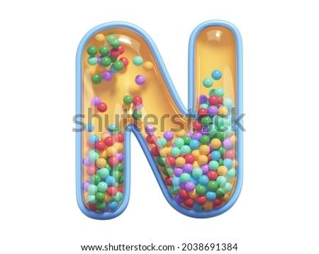 Rattle toy font. Letter N. 3d rendering Foto stock ©