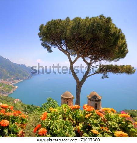 Ravello, amalfi coast, naples, italy, hdr