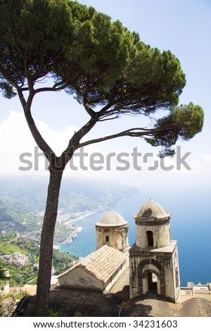Ravello point view of Amalfi coast with the tree and the church tower