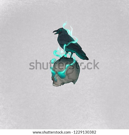 Stock Photo Raven on skull in color with blue smoke