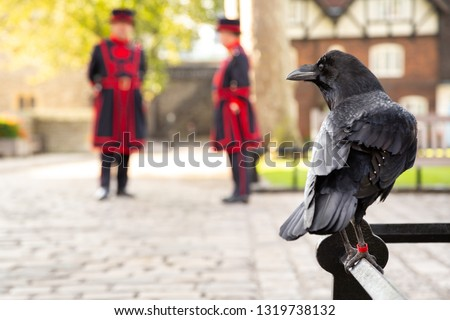 Raven perched on a railing at the Tower of London, with two Yeomen Warders in the blurry background, and space for text on the left