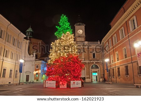 RAVENNA, ITALY �DECEMBER 19: Christmas Three lights in People square. The city defined by UNESCO heritage of humanity has 1 million tourists per year. December 19, 2011 Ravenna Italy