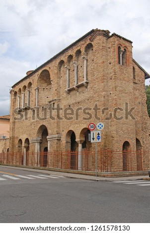 Ravenna, Italy, King Theodoric palace facade. The palace built in the year 400 is one of the city tourist attractions.