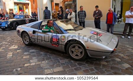 RAVENNA, ITALY - MAY 18:  A Ferrari 512 BB press car  at the \