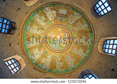 RAVENNA, ITALY- OCTOBER 20: Ceiling mosaic of the Arian baptistery. The baptistery is one of the eight structures in Ravenna registered as UNESCO World Heritage Sites. October 20, 2012 Ravenna Italy