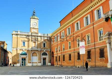 RAVENNA, ITALY �OCTOBER 27: tourists walking in People square. The city defined by UNESCO heritage of humanity has 3 million tourists per year. October 27, 2010 Ravenna Italy