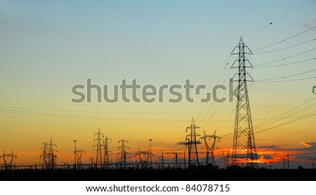 Ravenna, transmission lines at sunset.