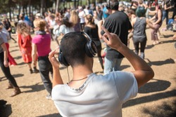 Raver listening the music session in a open party