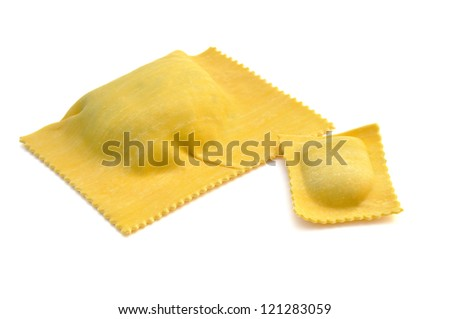 Ravioli filled with spinach and ricotta, italian egg pasta
