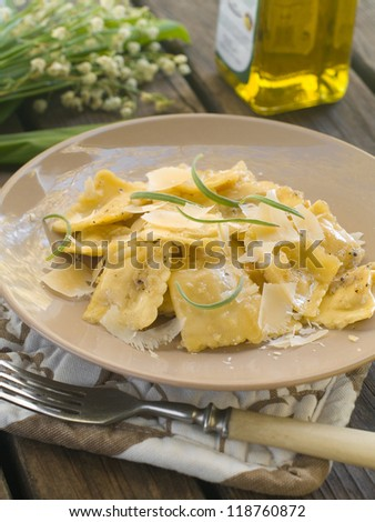 Ravioli  with cheese and sage, selective focus