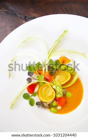 Ravioli with vegetable, creative restaurant meal concept, haute couture food #1031204440