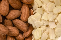 Raw and blanched almonds, top view