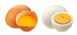 Raw and boiled chicken eggs isolated on white background with clipping path